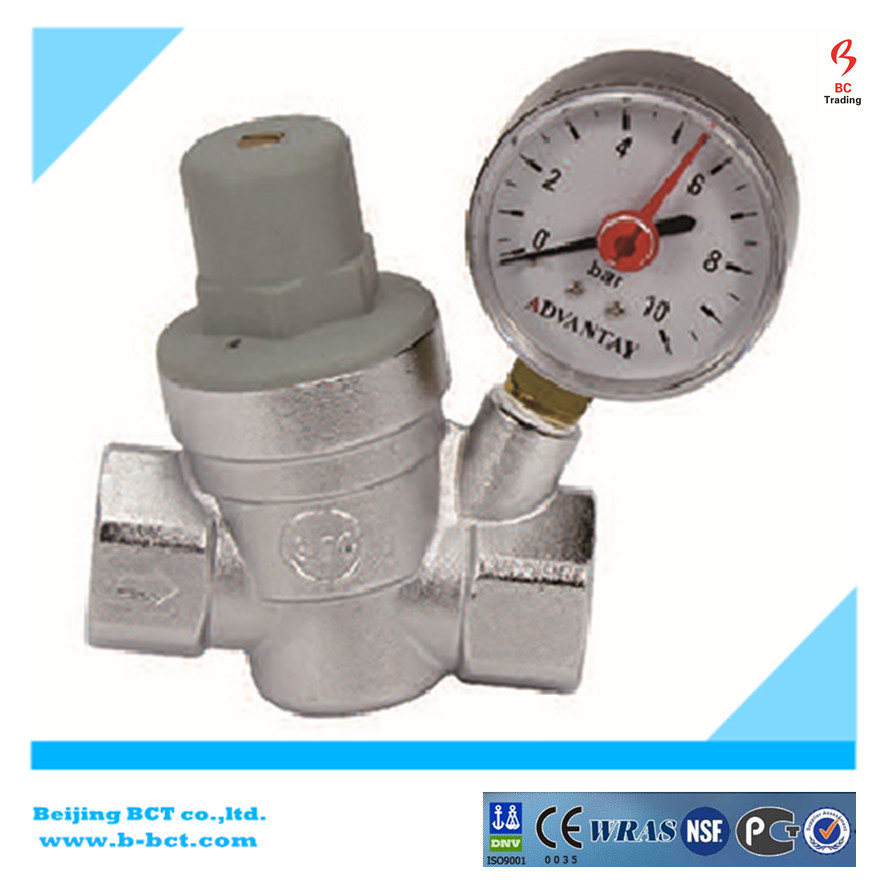 Water reducing pressure valve with gauge