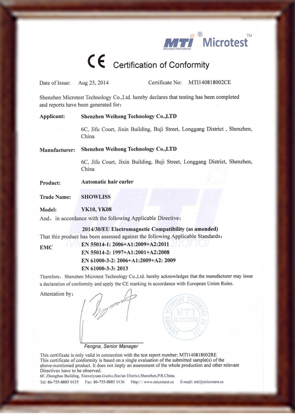 YK10 CE certificate