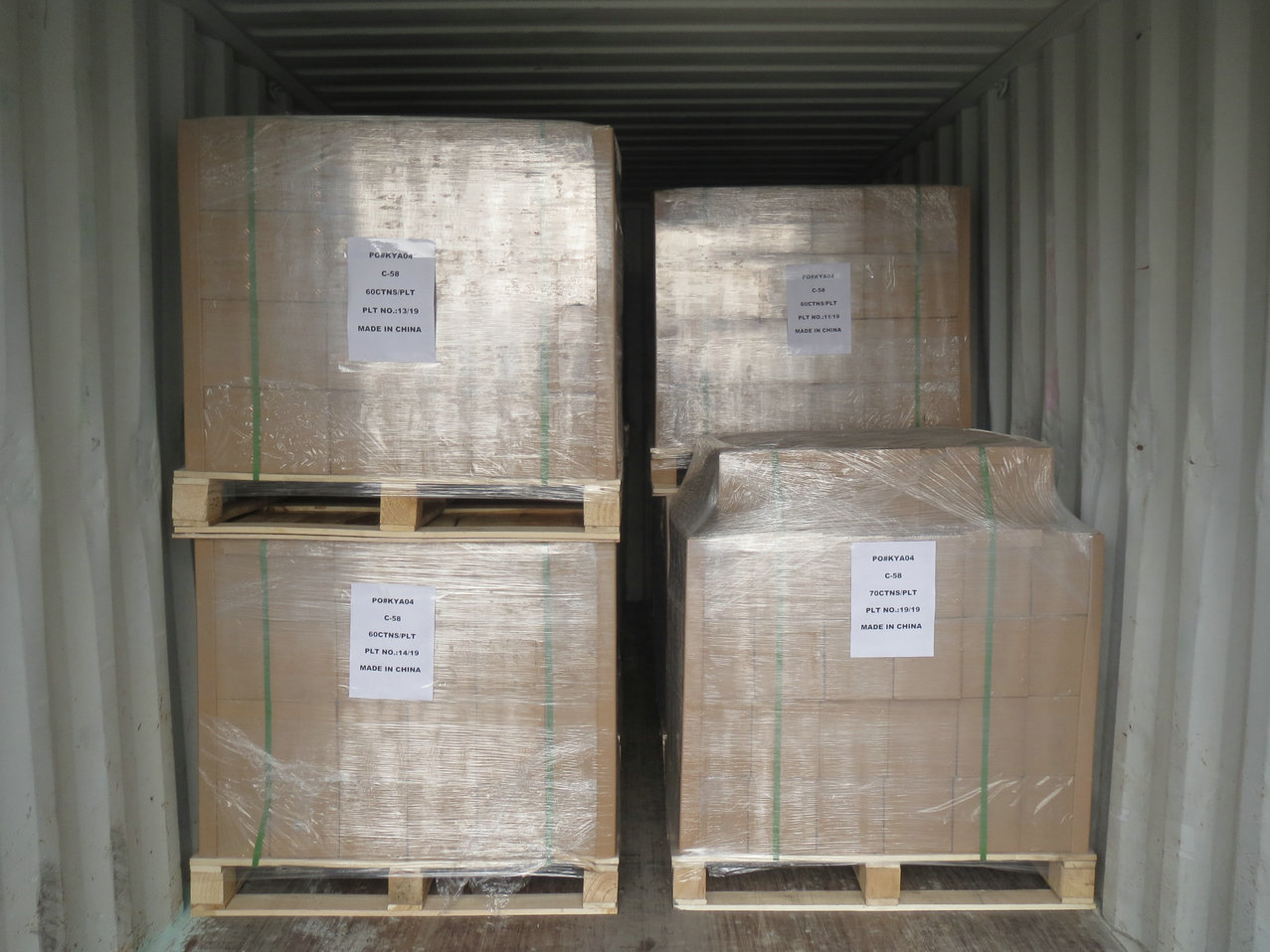 The condition of cargo loading
