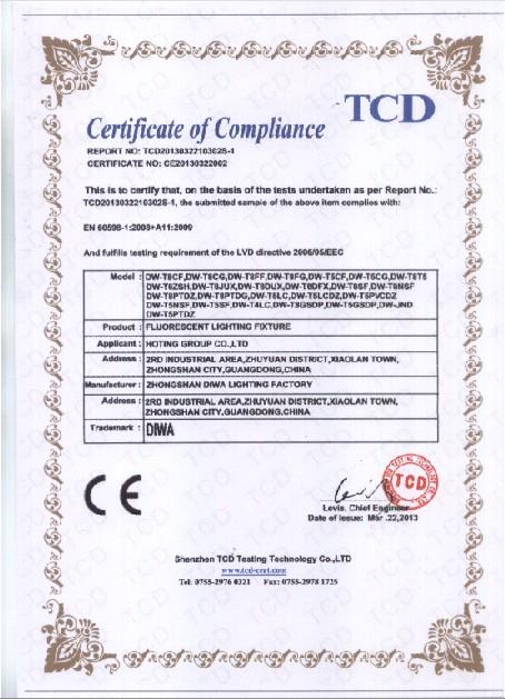 Fluorescent Lighting Fixture CE-LVD Certificate