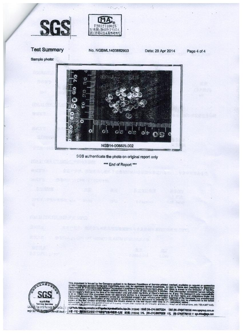 BPA certificate for PP material