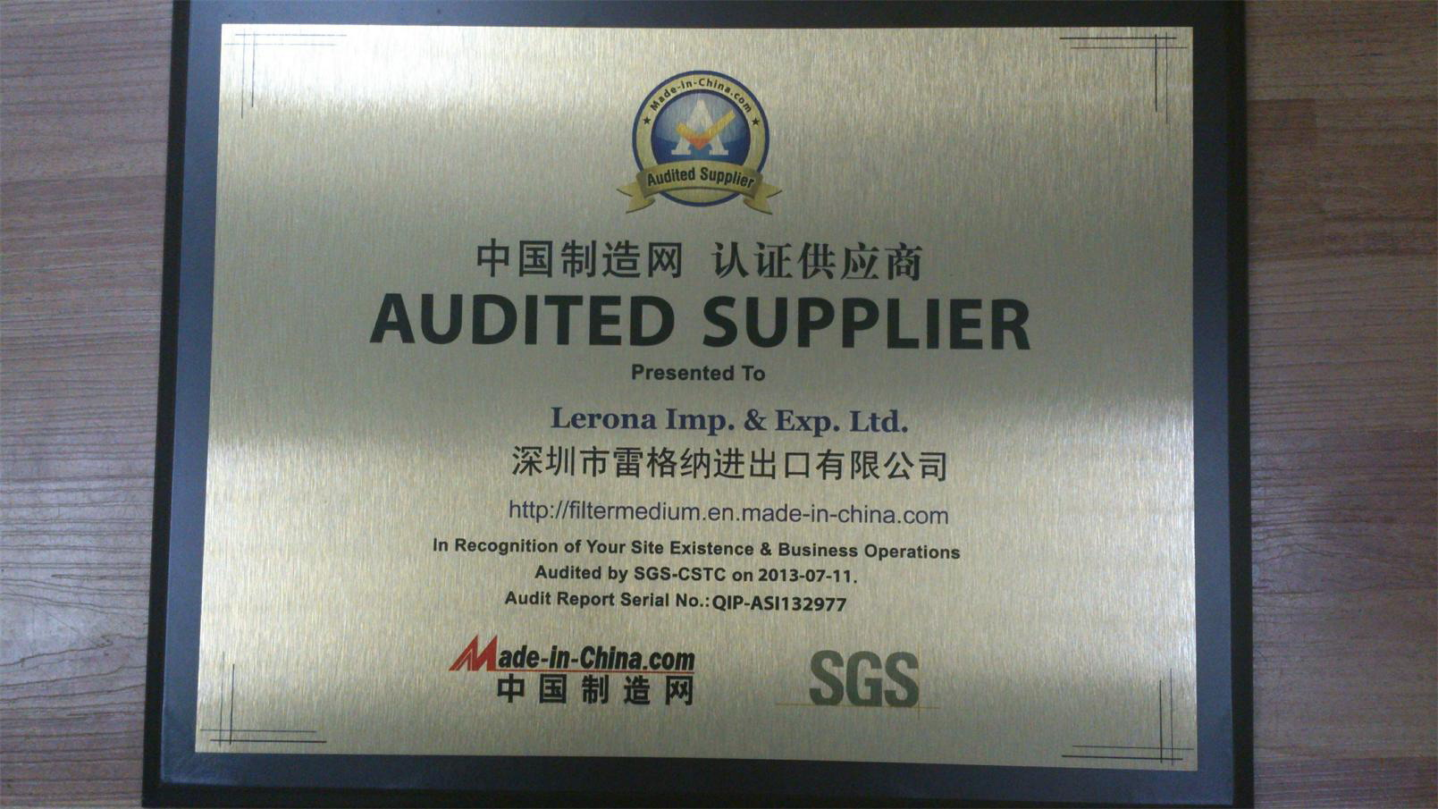 Audited suppliers by SGS