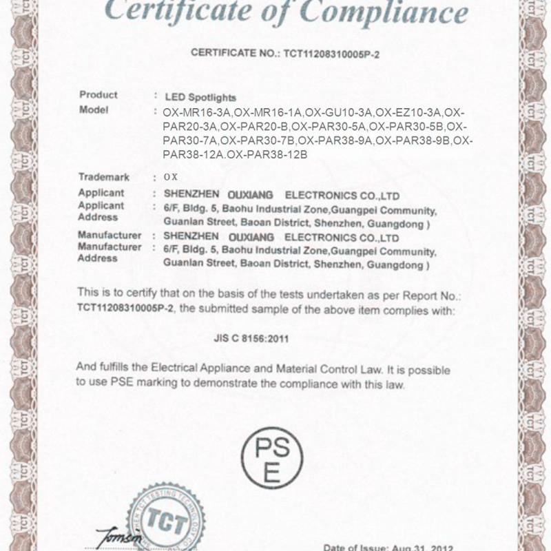 PSE certification for LED Spotlights