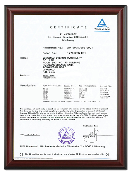 CE Certificate for wheel loader