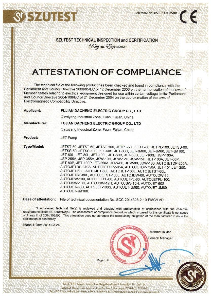 CE Certificate of Jet Pump