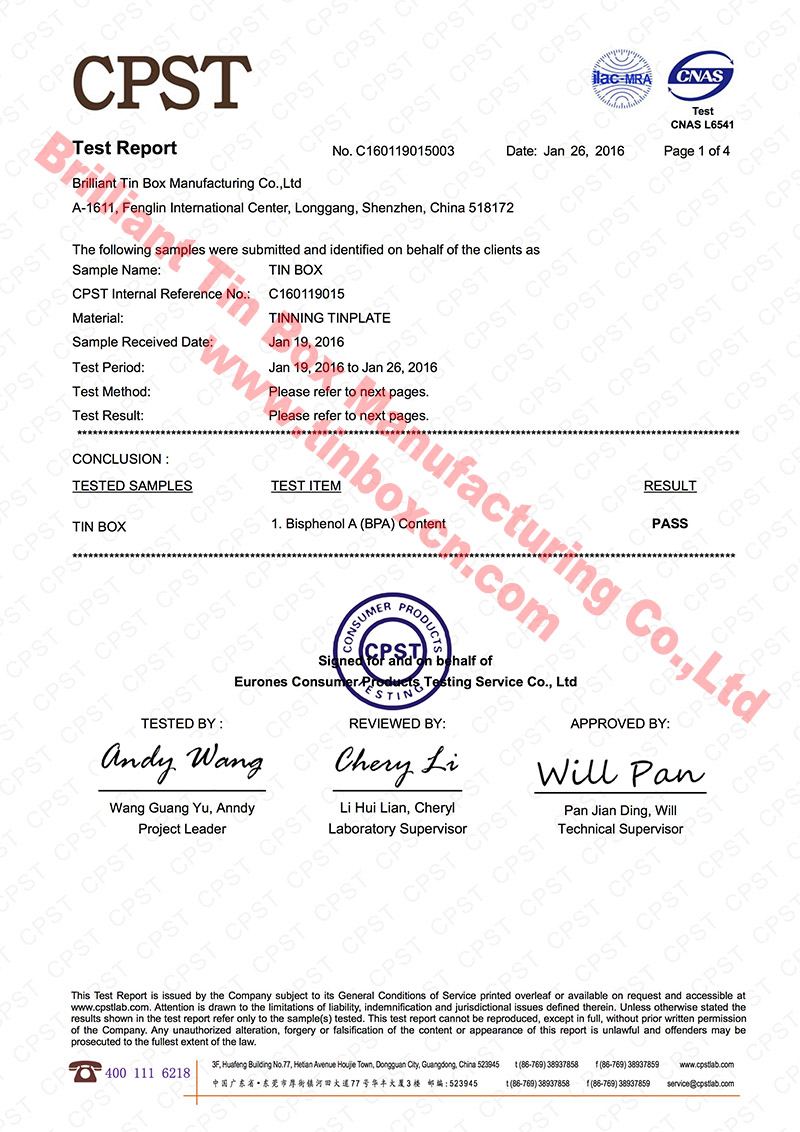 BPA Free Certificate