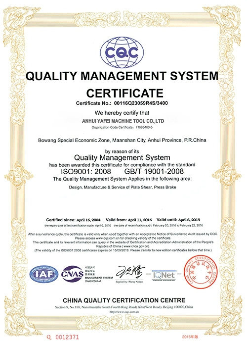 ISO 9001 QUALITY SYSTEM CERTIFICATE