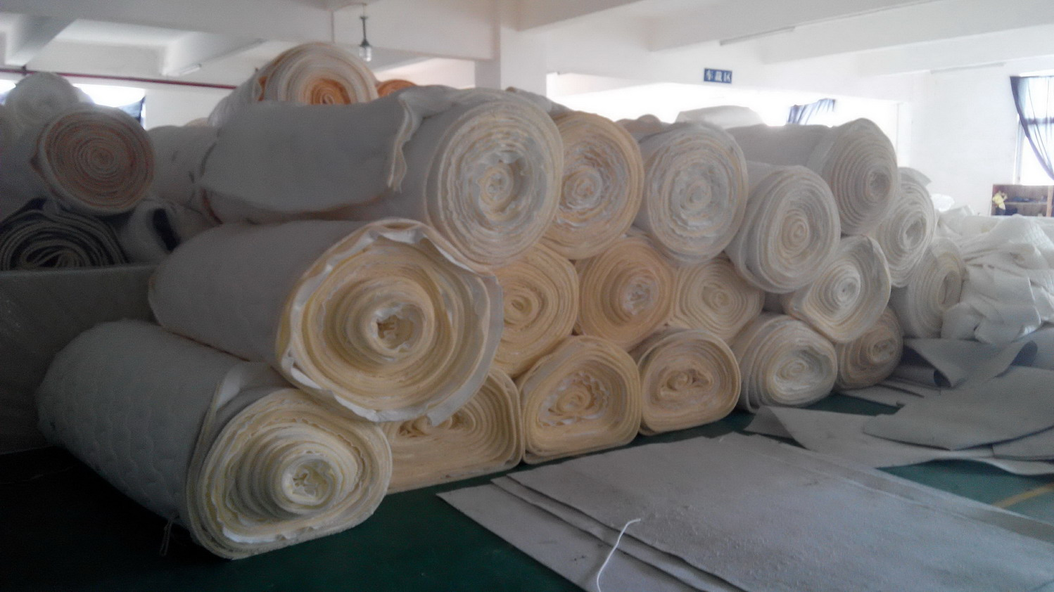 After quilted fabric stacked