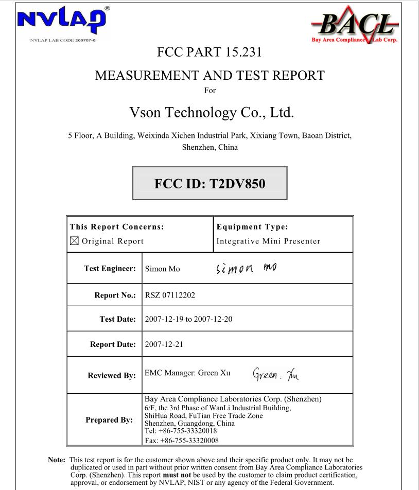 FCC ID: T2DV850,FCC PART 15.231,MEASUREMENT and TEST REPORT FROM Vson Technology Co., Ltd.