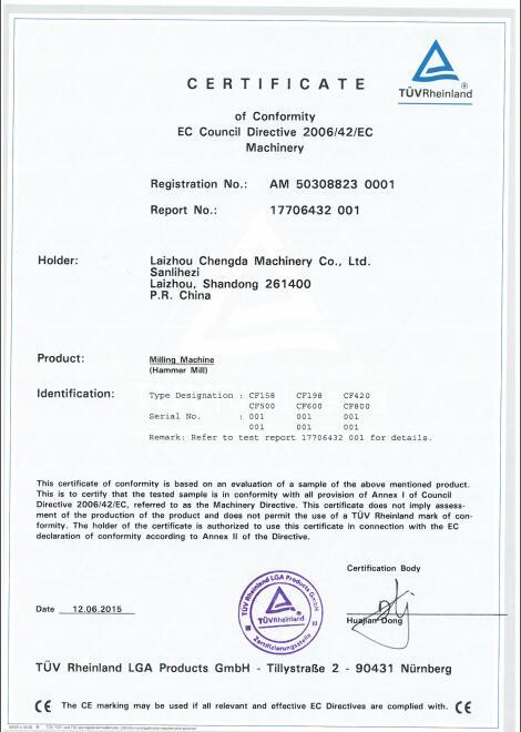 CE for CF sereis hammer mill