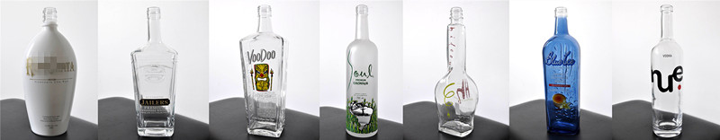 High Clear Glass Bottle with Frosting and Decal
