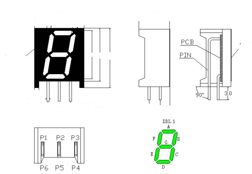 Custom bended pins 0.39 inch 7 Segment LED Display Release