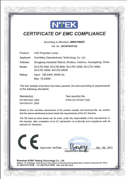 CERTIFICATE of EMC COMPLIANCE(LED Projection Lamp)