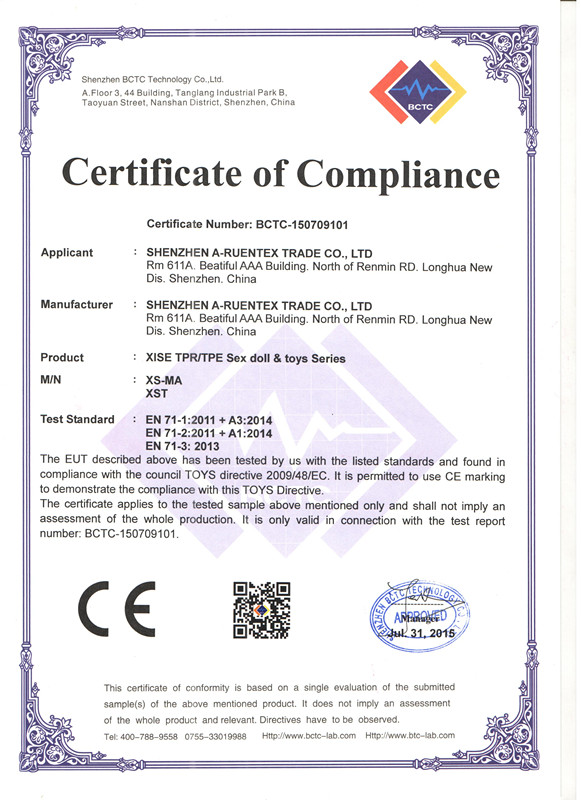 CE certification of Sex toys