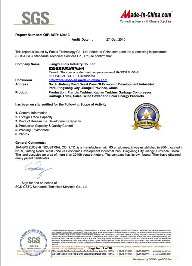 SGS certificate Audit Report