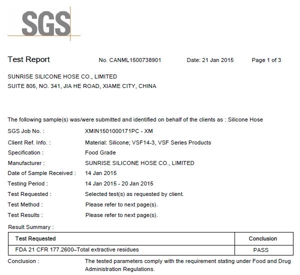 Silicone Hose Certificate