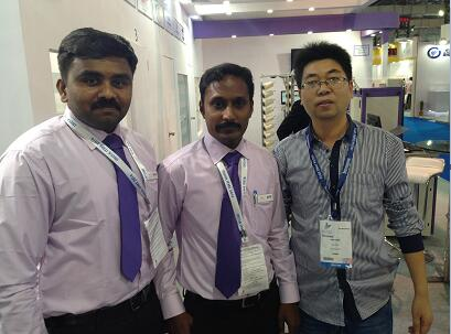 Introduction of Sales Team -Manager Mr.Guo with customers