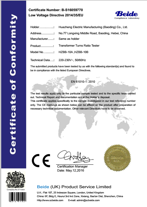 CE Certification OF Transformer Turn Ratio Tester
