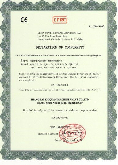 CE Certificate for Homogenizer