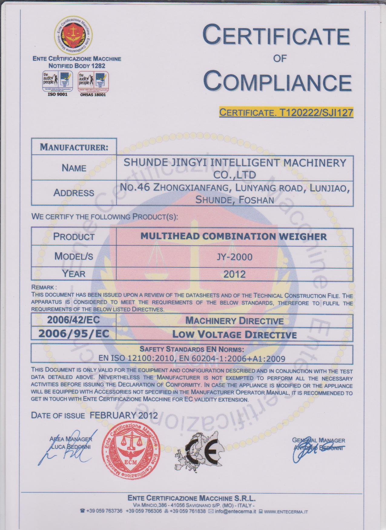 CE Certificate for Multihead Combination Weigher