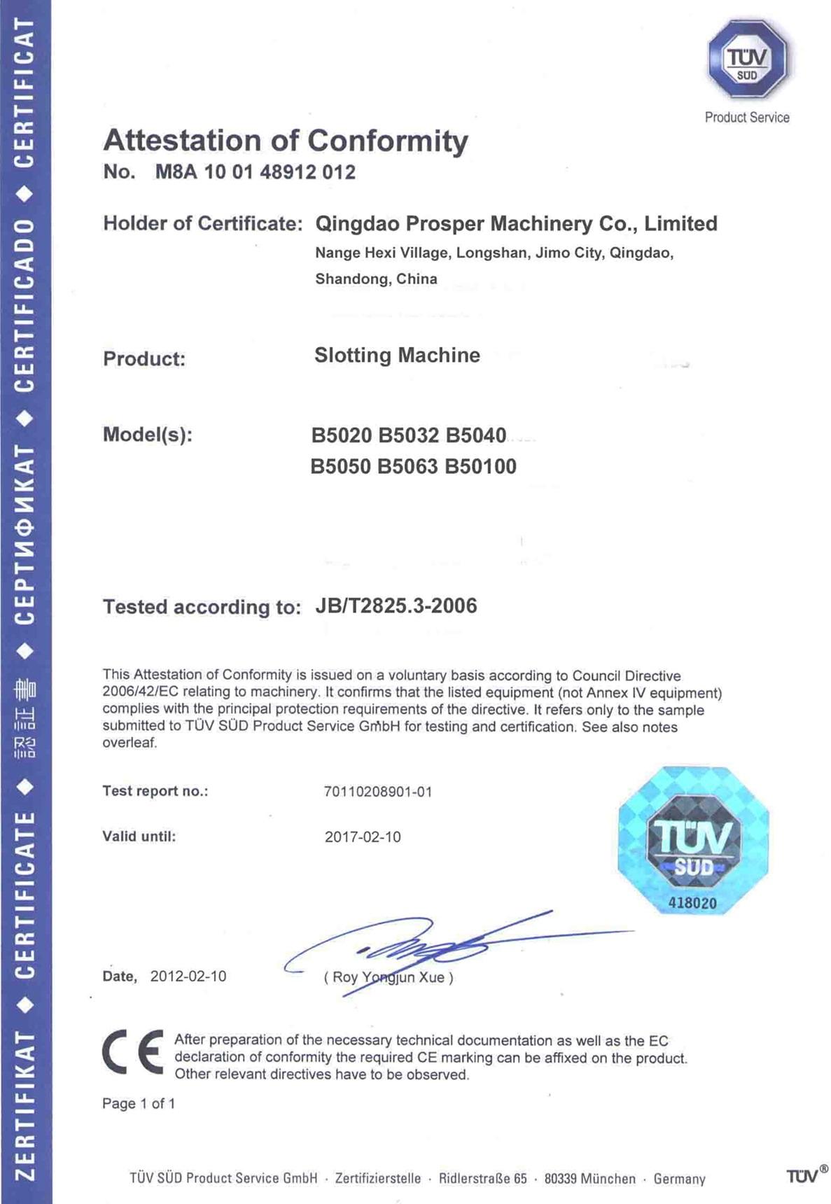CE for Slotting Machine