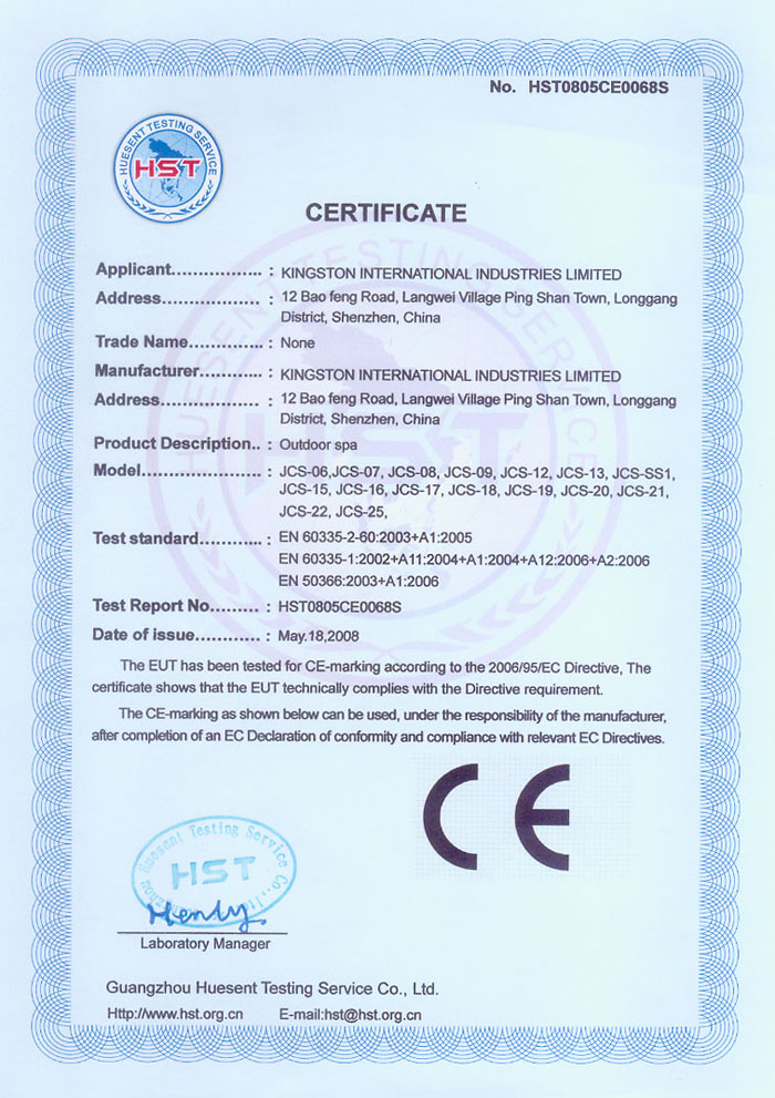 outdoor spa CE certificate