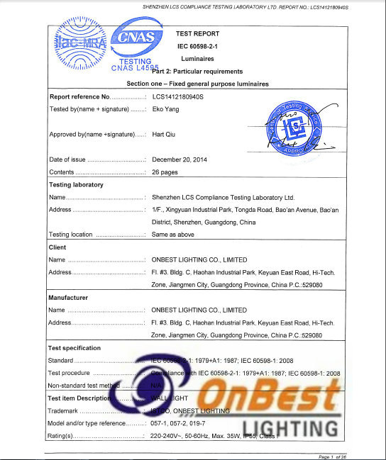 ONBEST LED LIGHTING:SASO IEC TEST REPORT FOR LED WALL LIGHTING