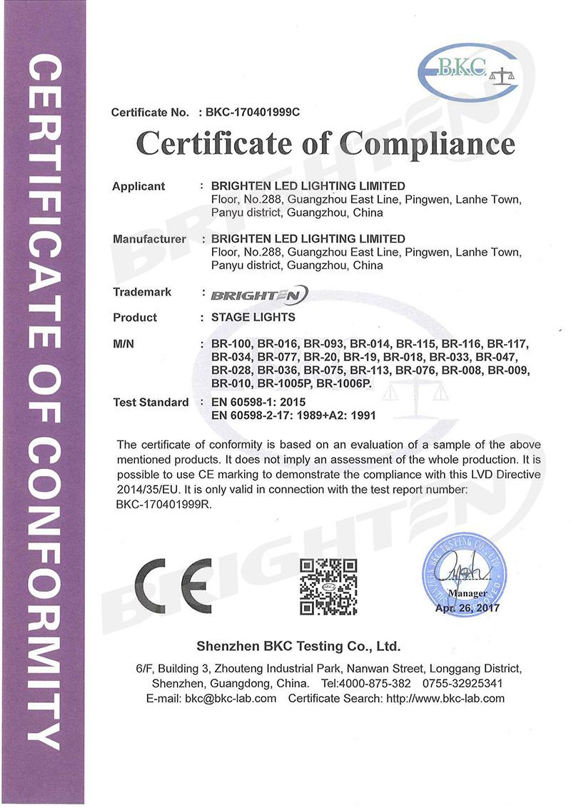LVD Certificate of Par Light
