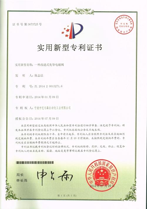 Letter of patent (Solenoid Valve)