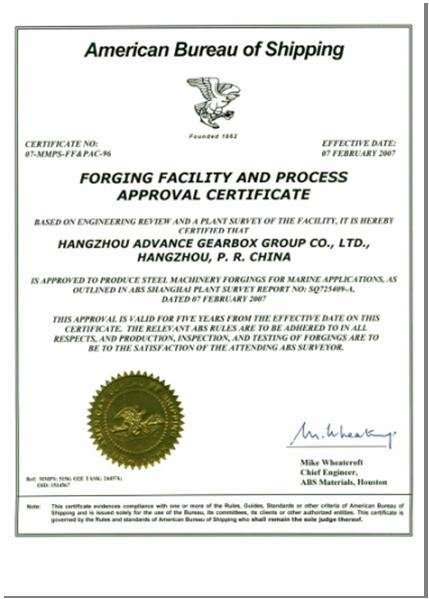 FOREIGN FACILITY and PROCESS APPROVAL CERTIFICATE