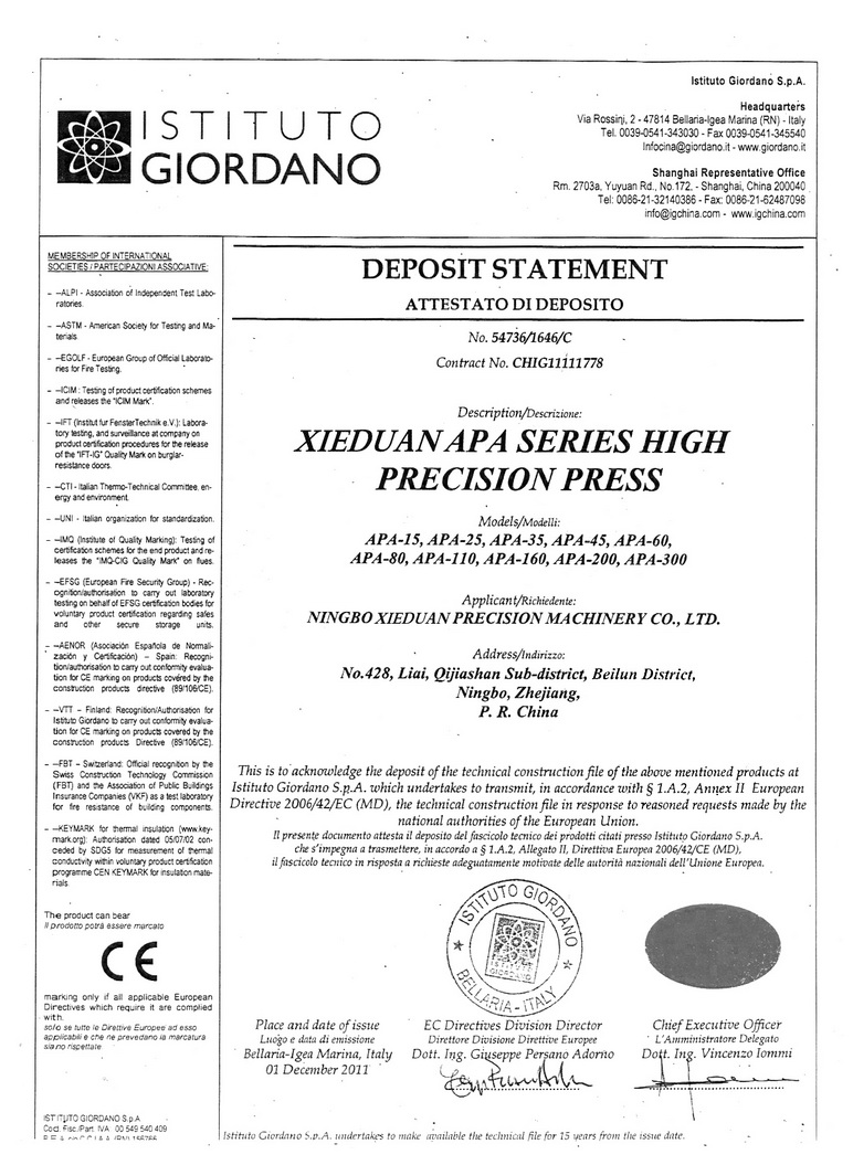 CE Certificate of Power Press