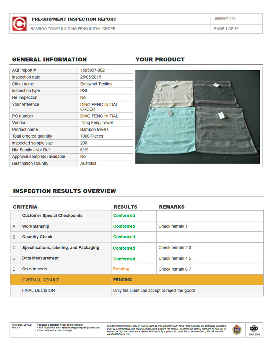 Pre-Shipment inspection report of Bamboo towel Page 1