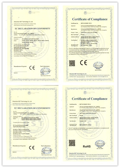 EMC / ROHS/ LVD certificate for inflatable lighting