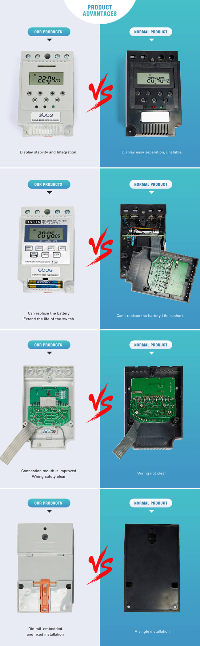 the comparison chart for old and updated one of timer switch