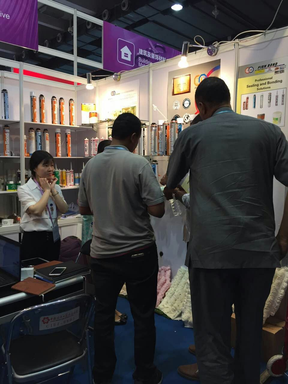 Customers Inquirying at FIRM BOND booth