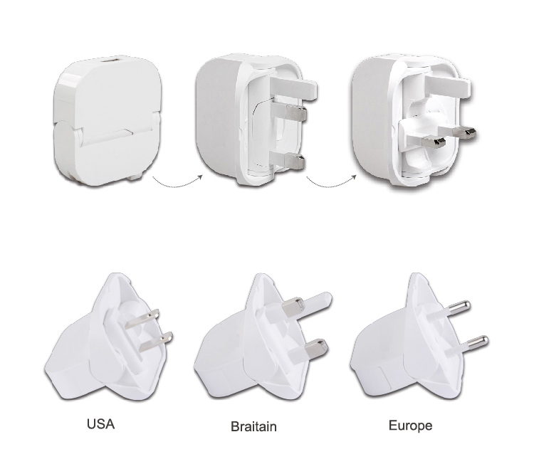 Nice Rotating Adapter UK/EU/US Plug Mobile Phone Charger for Travel