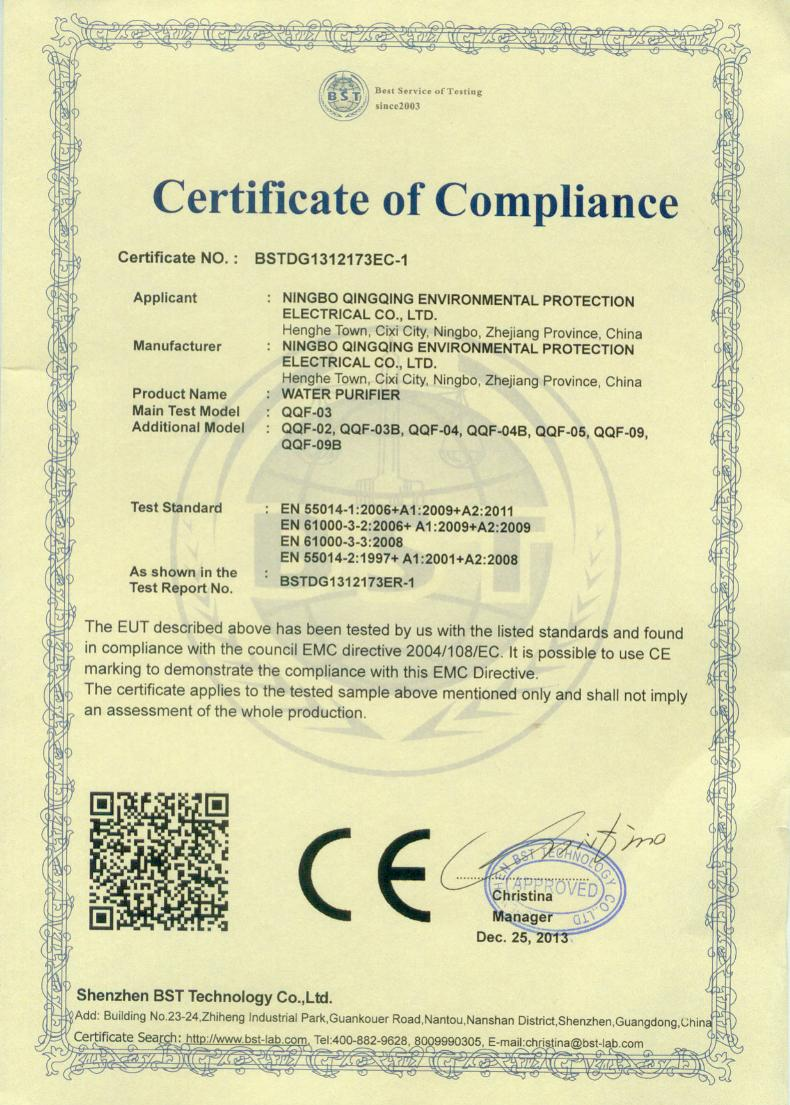 water pitcher CE certificate
