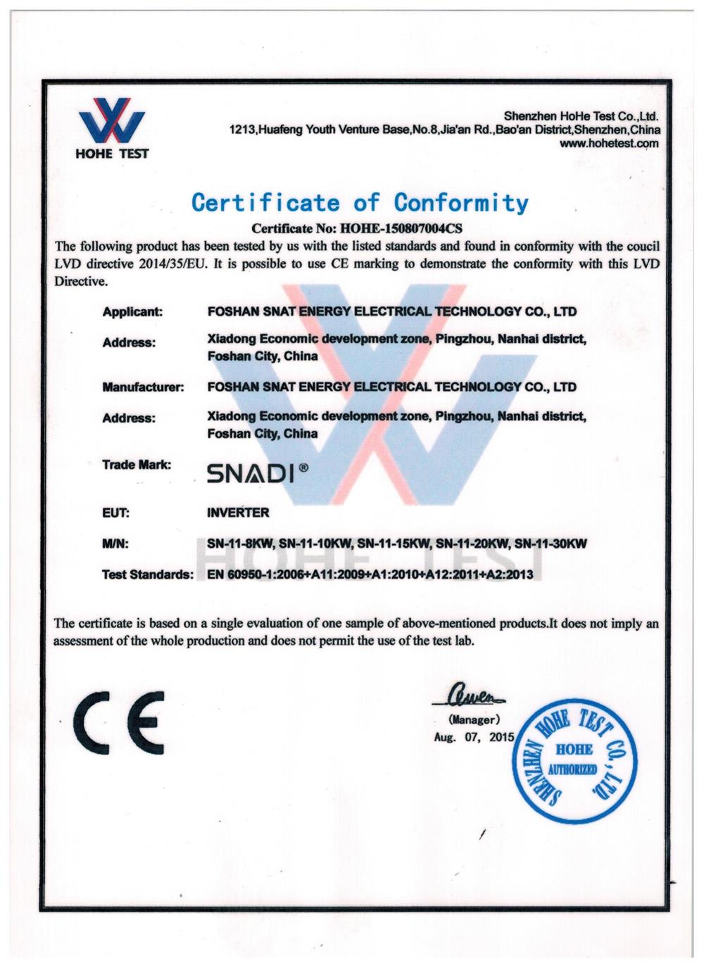 CE of 8kw~30kw Solar inverter