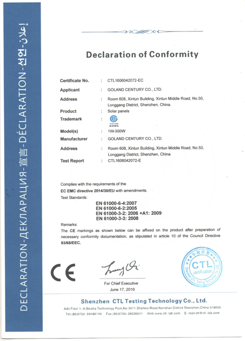 Goland Century CE Certification For Solar PV Panel