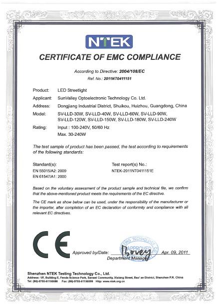 CERTIFICATE of EMC COMPLIANCE(LED Street Light)