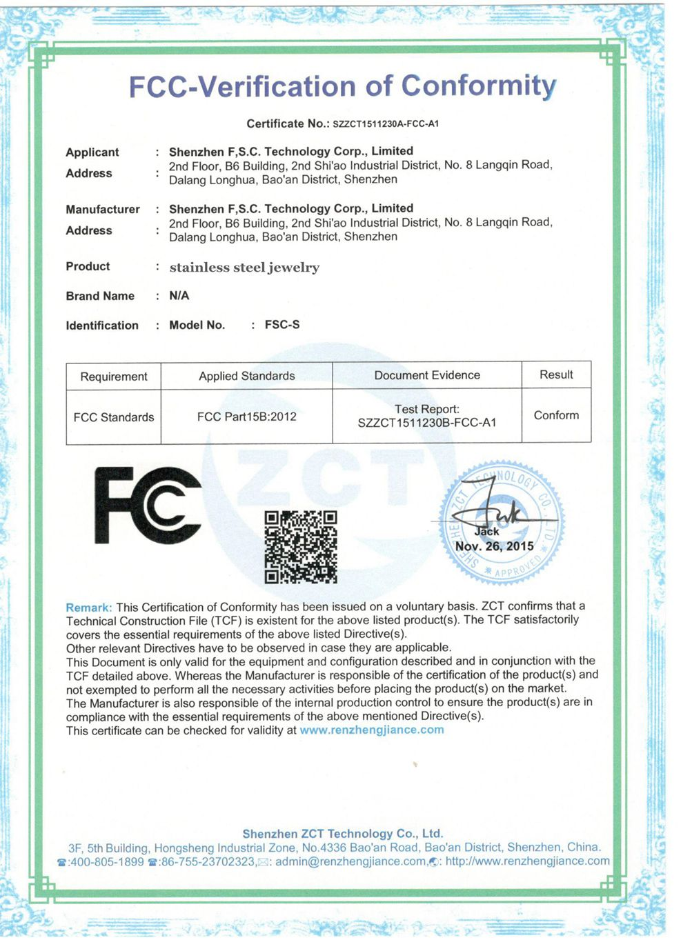 Stainless Steel Jewelry Certificate