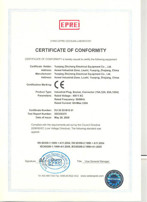 CE for Industrial Plug