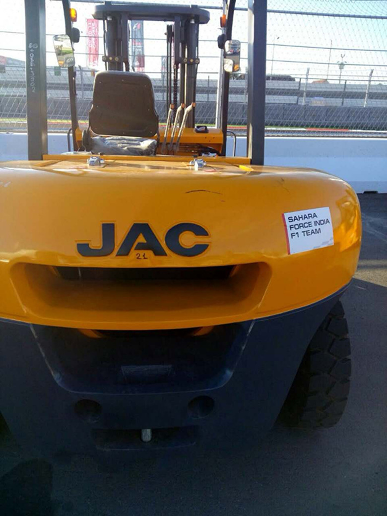 JAC forklift in F1 track