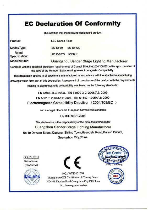 CE for LED dance floor