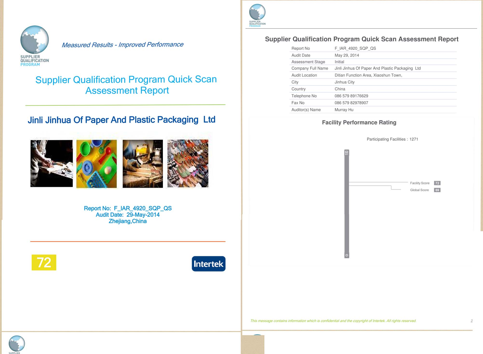 Supplier Qualification Program Quick Scan Assessment Report
