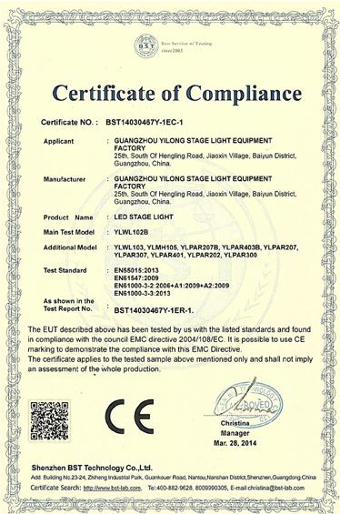 CE Certification for LED Par Light