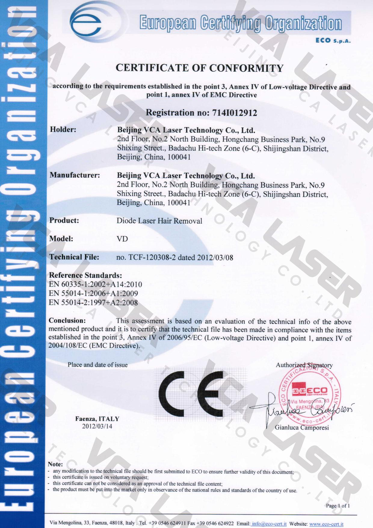 808nmdiodelaser Ce Certification Beijing Vca Laser