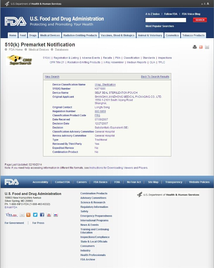 Certificate - FDA