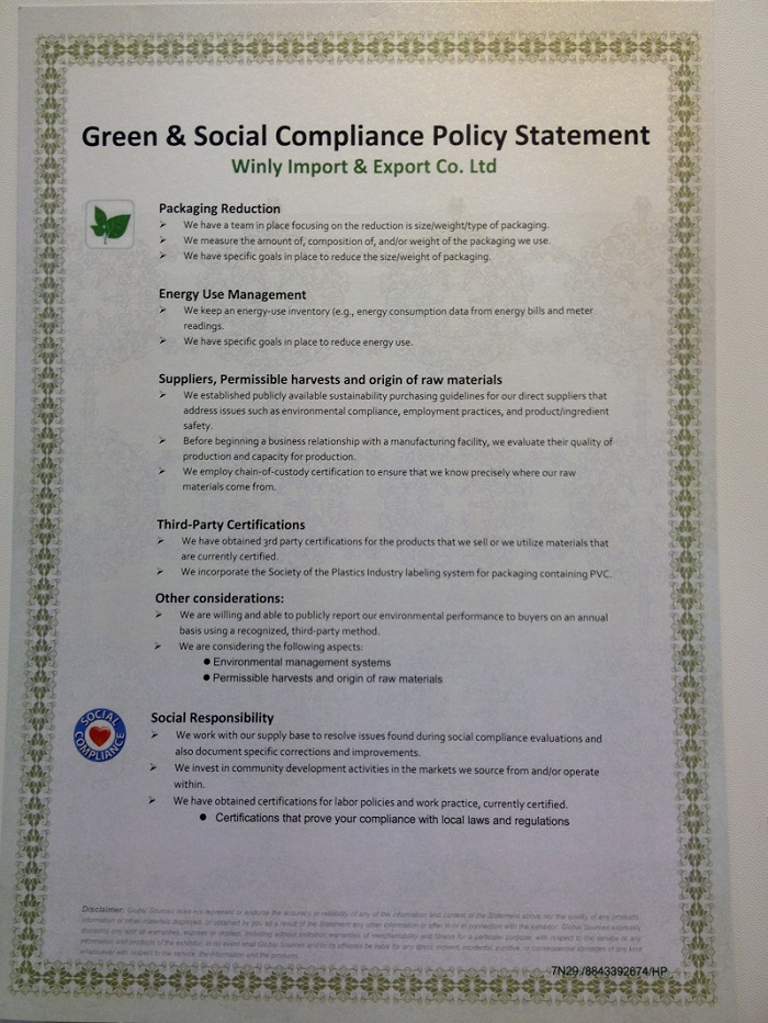 Green & Social Compliance Policy Statement