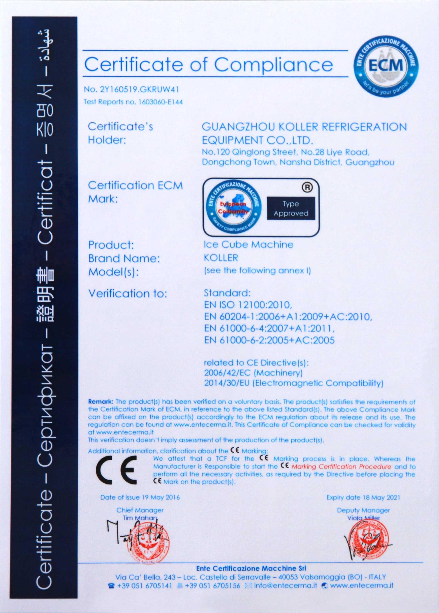 Koller CE Certificate 1